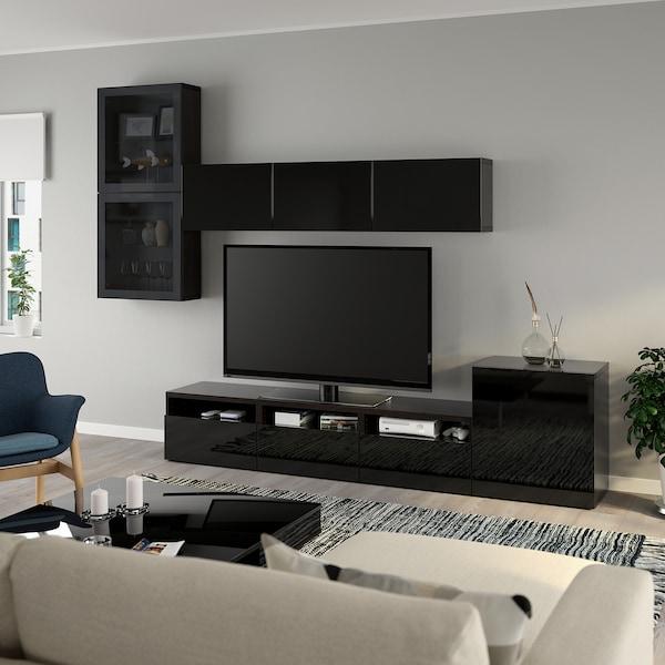 BESTÅ TV úložná sestava se skl. dvířky, černohnědá/Selsviken lesklé/černé kouřové sklo, 300x42x211 cm