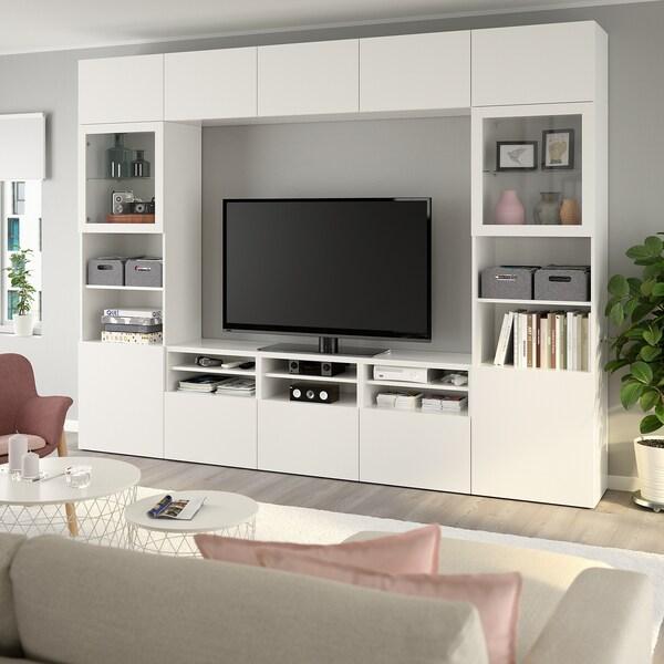 BESTÅ TV úložná sestava se skl. dvířky, Lappviken/Sindvik bílé čiré sklo, 300x40x230 cm