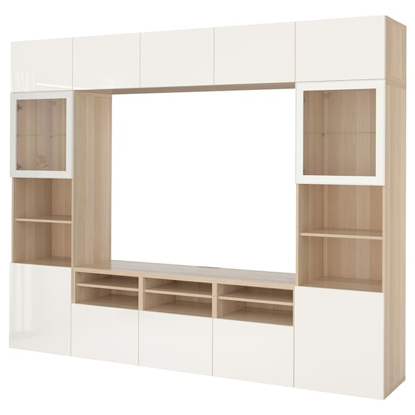 BESTÅ TV úložná sestava se skl. dvířky, vz. bíle moř. dub/Selsviken lesklé/bílé čiré sklo, 300x40x230 cm