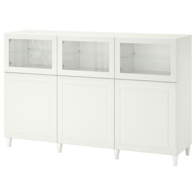 BESTÅ Úložná sestava s dvířky, bílá/Smeviken/Kabbarp bílé čiré sklo, 180x42x112 cm