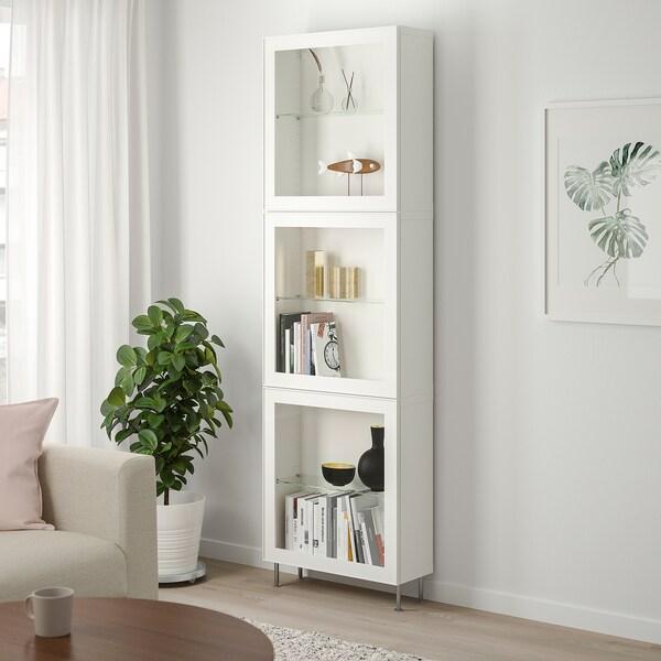 BESTÅ Úložná sestava s prosklenými dvířky, bílá/Glassvik/Stallarp bílé čiré sklo, 60x22x202 cm