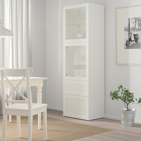 BESTÅ Úložná sestava s prosklenými dvířky, bílá/Hanviken bílé čiré sklo, 60x42x193 cm
