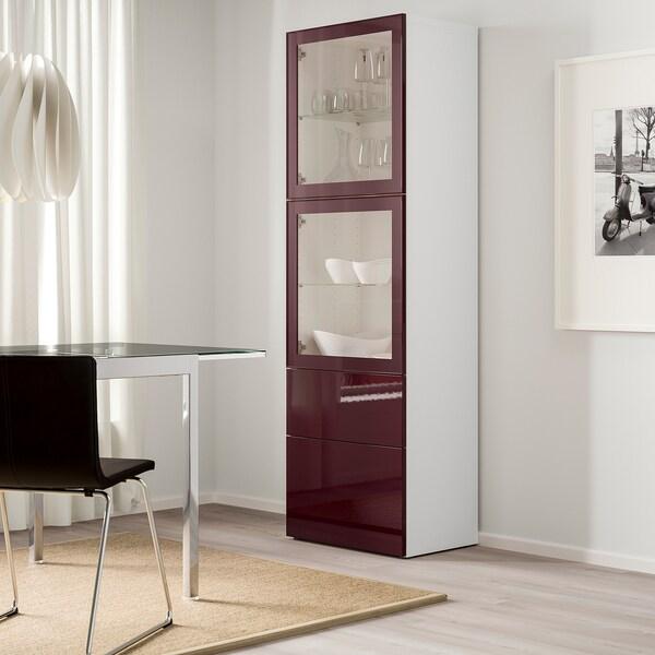 BESTÅ Úložná sestava s prosklenými dvířky, bílá Selsviken/tmavě červeno-hnědá čiré sklo, 60x42x193 cm
