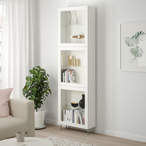 BESTÅ Úložná sestava s prosklenými dvířky, bílá/Sindvik/Stallarp bílé čiré sklo, 60x22x202 cm