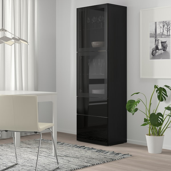 BESTÅ Úložná sestava s prosklenými dvířky, černohnědá/Selsviken lesklé/černé čiré sklo, 60x42x193 cm