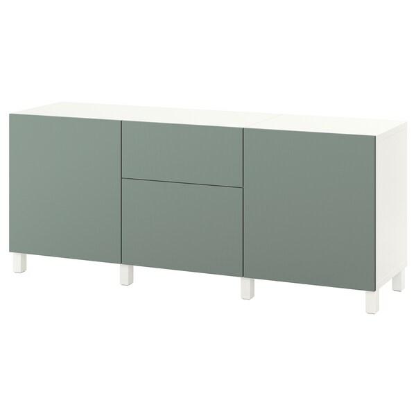 BESTÅ Úložná sestava se zásuvkami, bílá/Notviken/Stubbarp šedo-zelená, 180x42x74 cm