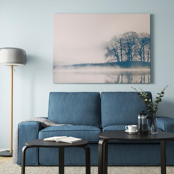 BJÖRKSTA Obraz s rámem, Krajina v mlze/barva hliníku, 140x100 cm
