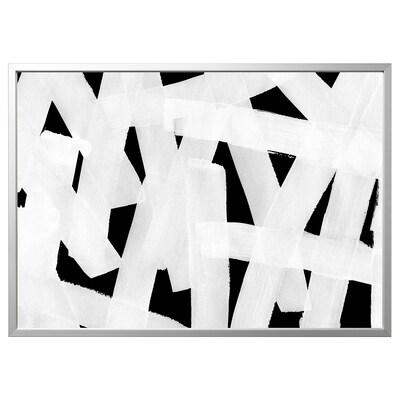 BJÖRKSTA obraz s rámem Natírání štětcem/barva hliníku 140 cm 100 cm