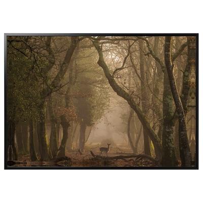 BJÖRKSTA obraz s rámem Jelen/černá 200 cm 140 cm