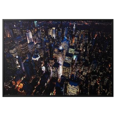 BJÖRKSTA obraz s rámem osvětlené město, New York/černá 200 cm 140 cm