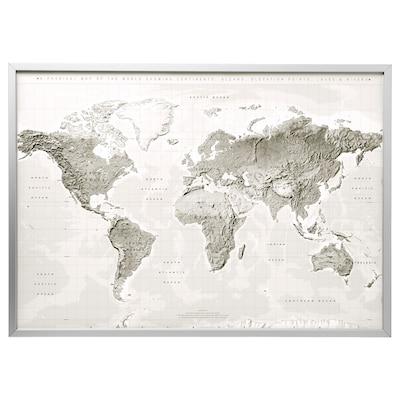 BJÖRKSTA obraz s rámem planeta Země šedá/bílá/barva hliníku 140 cm 100 cm