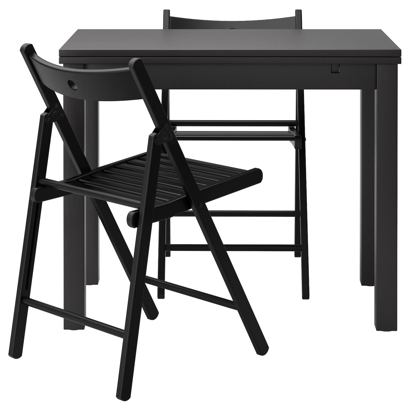 """БЬЮРСТА/ ТЕРЬЕ Стол и 2 стула, коричнево-чёрный, черный - Интернет-магазин мебели  """"Ekea Шведский дом """" в Астане."""