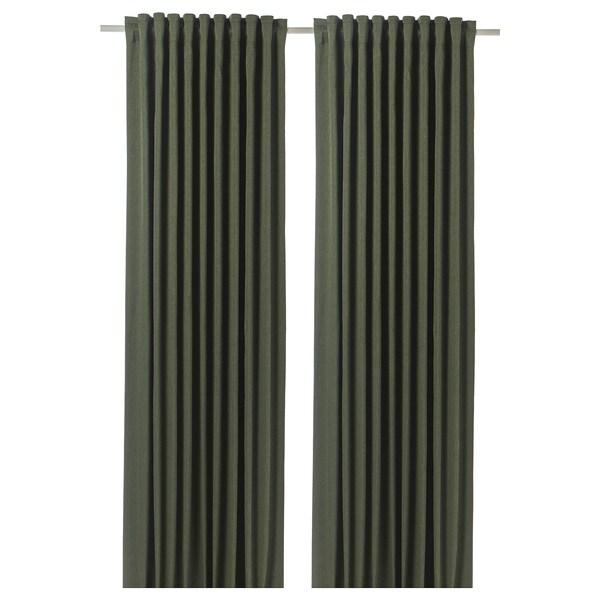 BLÅHUVA zatemňovací závěsy, 1 pár zelená 300 cm 145 cm 3.19 kg 4.35 m² 2 ks
