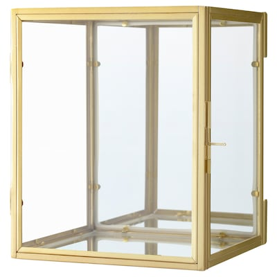 BOMARKEN Minivitrína, zlatá barva, 17x20x16 cm