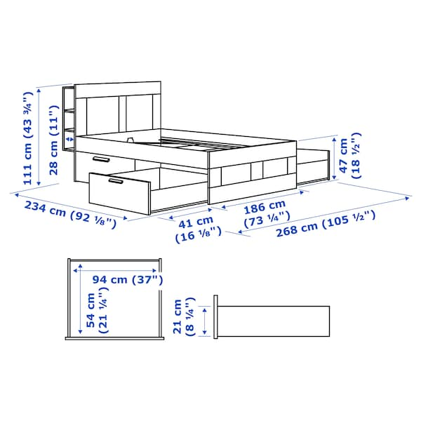 BRIMNES Rám postele s úl. prostorem a čelem, bílá/Leirsund, 180x200 cm