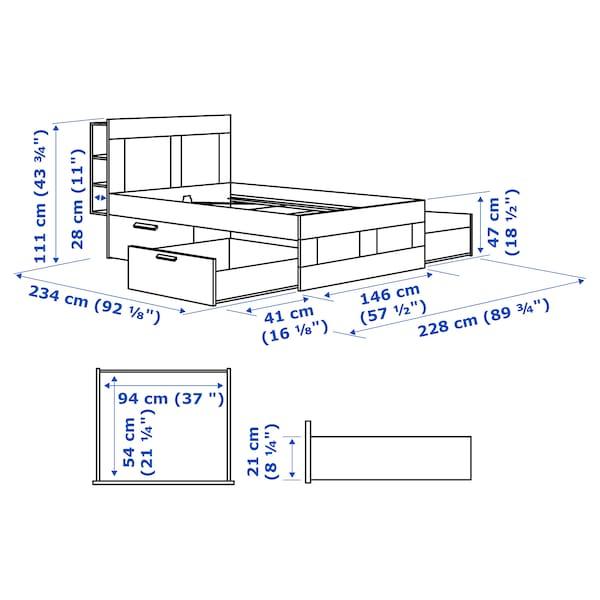 BRIMNES Rám postele s úl. prostorem a čelem, bílá/Lönset, 140x200 cm