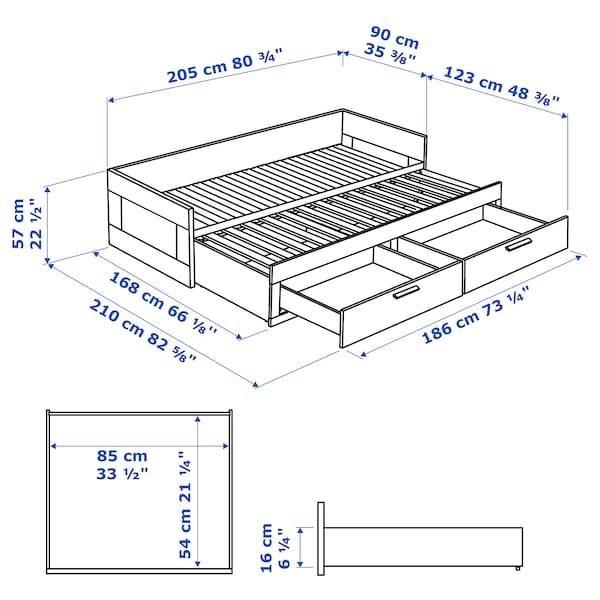 BRIMNES Rám rozkl. pohovky/2 zásuvky, bílá, 80x200 cm