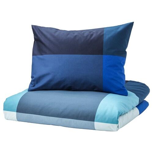 BRUNKRISSLA povlečení na dvoulůžko modrá/šedá 152 Palec²  2 ks 200 cm 200 cm 50 cm 60 cm