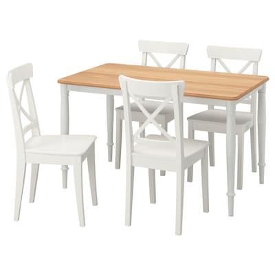 DANDERYD / INGOLF Stůl a 4 židle, dýha dub bílá/bílá, 130x80 cm