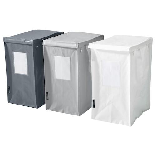 DIMPA taška na tříděný odpad bílá/tmavě šedá/světle šedá 22 cm 35 cm 45 cm 15 kg 35 l 3 ks