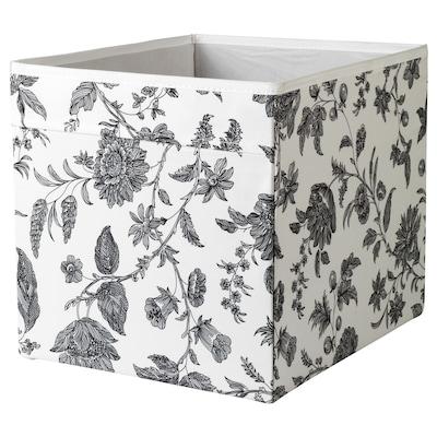 DRÖNA krabice květinový vzor černá/bílá 33 cm 38 cm 33 cm