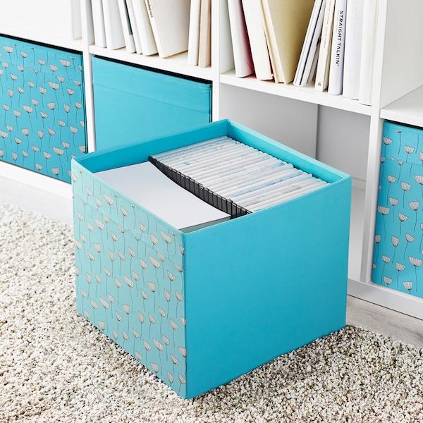 DRÖNA krabice modrá květinový vzor/modrá 33 cm 38 cm 33 cm