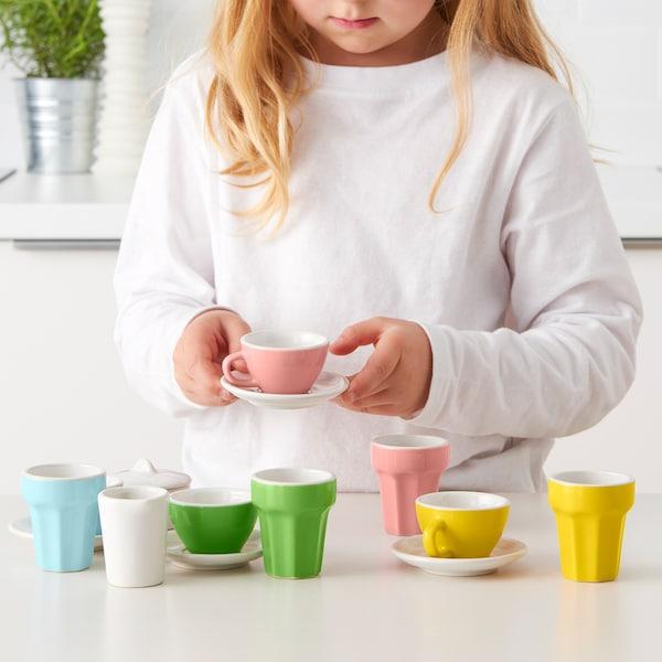 DUKTIG Kávový/čaj. servis na hraní, 10 ks, barevná