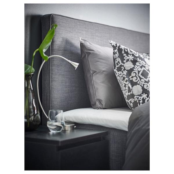 DUNVIK Čalouněná postel, Hyllestad střední tvrdost/Tussöy tmavě šedá, 180x200 cm