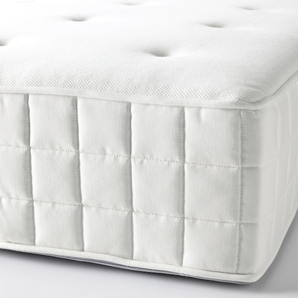 DUNVIK Čalouněná postel, Hyllestad tvrdá/Tustna Gunnared, béžový, 160x200 cm