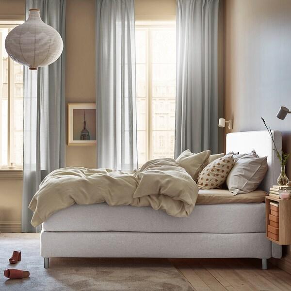 DUNVIK čalouněná postel Hyllestad tvrdá/Tustna Gunnared, béžový 210 cm 160 cm 120 cm 200 cm 160 cm