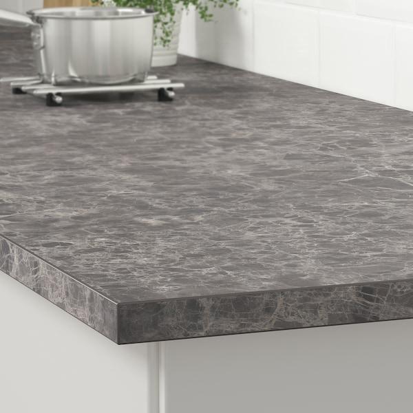 EKBACKEN pracovní deska tmavě šedá mramorový efekt/laminát 246 cm 63.5 cm 2.8 cm