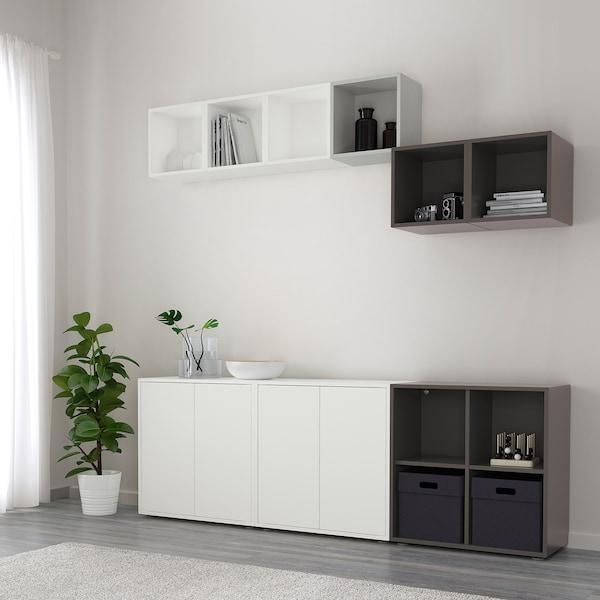 EKET Sestava skříněk s nohami, bílá/světle šedá/tmavě šedá, 210x35x180 cm