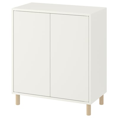 EKET Sestava skříněk s podnožím, bílá/dřevo, 70x35x80 cm