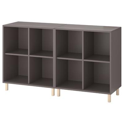 EKET Sestava skříněk s podnožím, tmavě šedá/dřevo, 140x35x80 cm