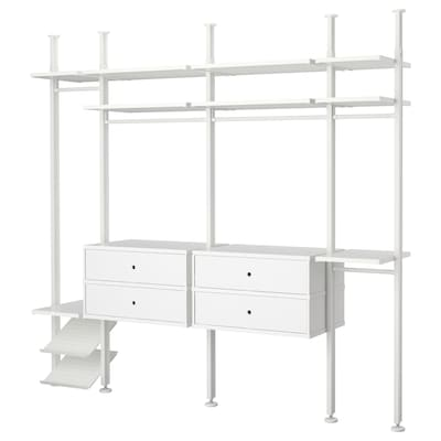 ELVARLI Šatní skříň, bílá, 262x51x222-350 cm