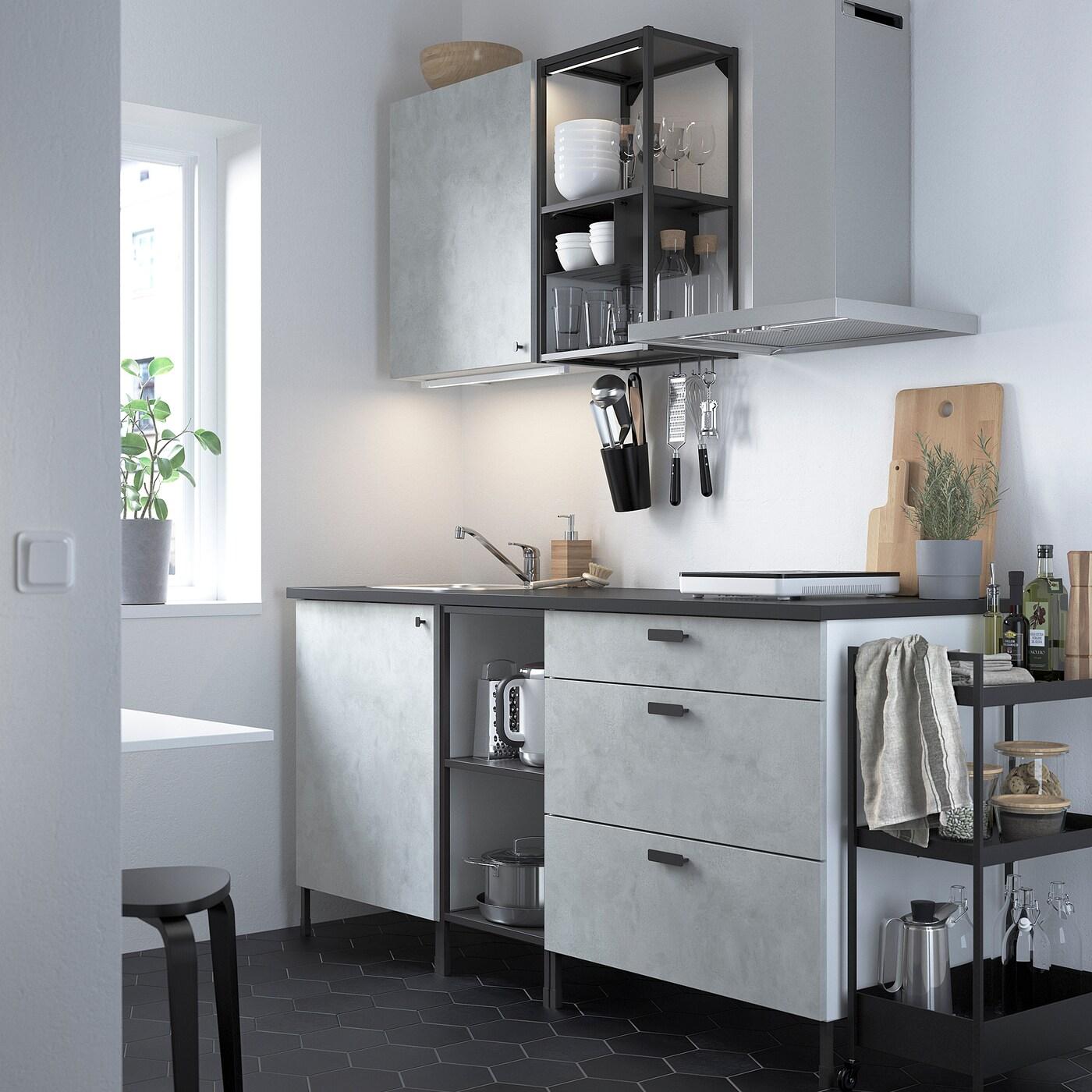 ENHET Kuchyně, antracit/imitace betonu, 183x63.5x222 cm