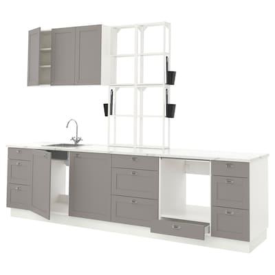 ENHET Kuchyně, bílá/šedá rám, 323x63.5x241 cm