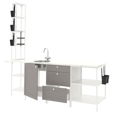 ENHET Kuchyně, bílá/šedá rám, 243x63.5x241 cm
