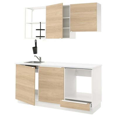 ENHET Kuchyně, bílá/vzor dub, 183x63.5x222 cm
