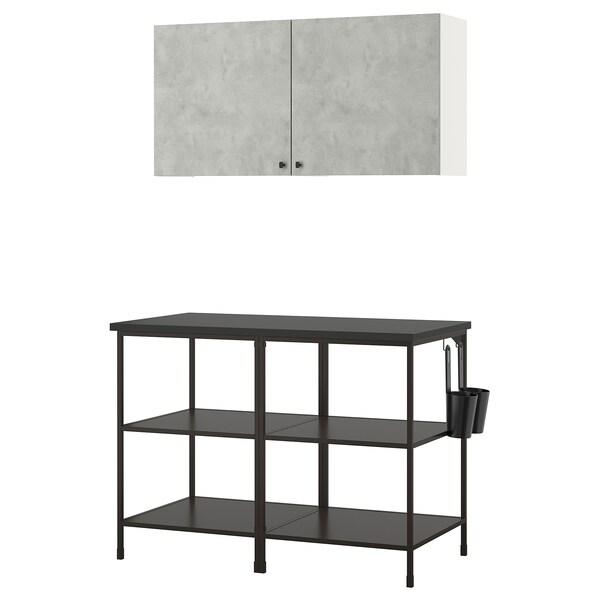 ENHET Nástěnná úložná sestava, antracit/imitace betonu, 123x63.5x207 cm