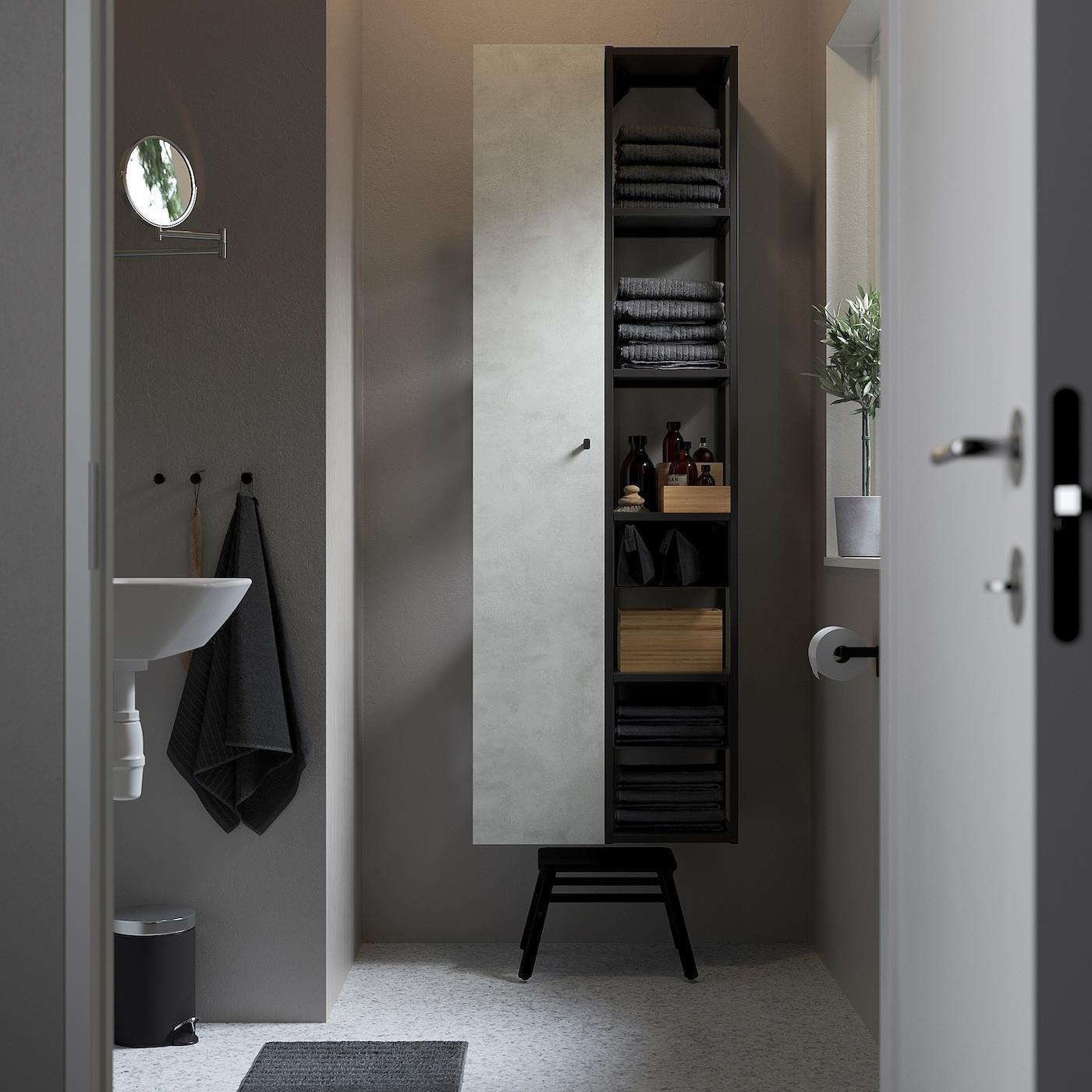 ENHET Nástěnná úložná sestava, antracit/imitace betonu, 60x32x180 cm