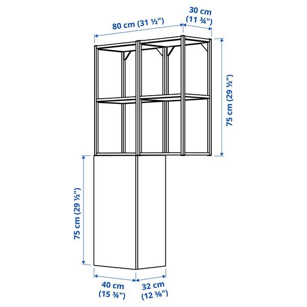 ENHET Nástěnná úložná sestava, antracit/šedá rám, 80x32x150 cm