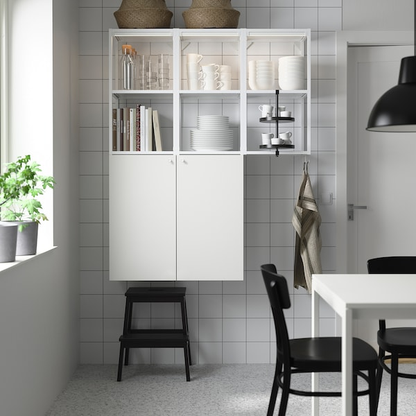 ENHET Nástěnná úložná sestava, bílá, 120x32x150 cm