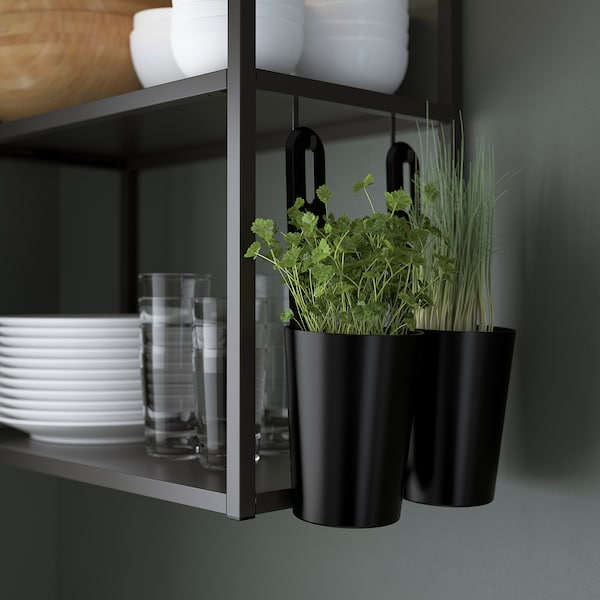 ENHET Rohová kuchyně, antracit/imitace betonu