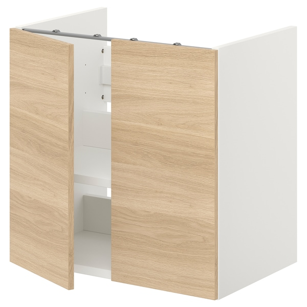 ENHET Spod. sk. na umyvadlo s pol./dvířky, bílá/vzor dub, 60x42x60 cm