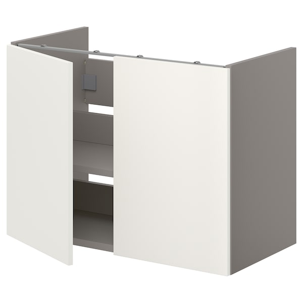 ENHET Spod. sk. na umyvadlo s pol./dvířky, šedá/bílá, 80x42x60 cm