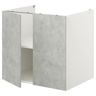 ENHET Spod. skř. s pol./dvířky, bílá/imitace betonu, 80x60x75 cm