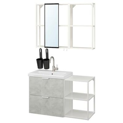 ENHET / TVÄLLEN Koupelnový nábytek, sada 15 ks, imitace betonu/bílá Baterie Glypen, 102x43x65 cm