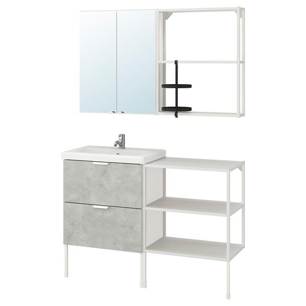 ENHET / TVÄLLEN Koupelnový nábytek, sada 15 ks, imitace betonu/bílá Baterie Pilkån, 122x43x87 cm