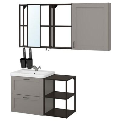 ENHET / TVÄLLEN Koupelnový nábytek, sada 18 ks, šedá rám/antracit Baterie Runskär, 102x43x65 cm